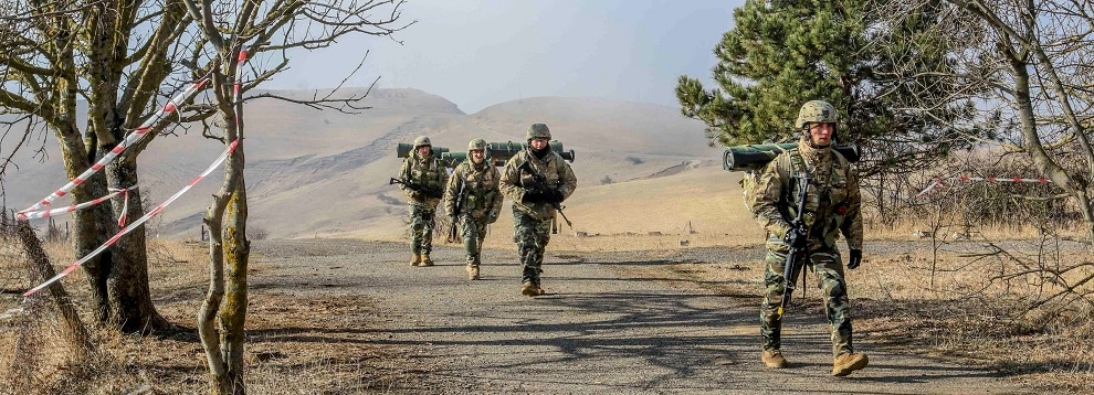 Georgian Soldiers conduct ruck marches during the Georgian Defense Readiness Program- Training (GDRP-T) mission on Vaziani Training Area, March 3, 2020. Soldiers from 1st Battalion, 5th Cavalry Regiment, 2nd Brigade Combat Team, 1st Cavalry Division are currently supporting the GDRP-T mission, which is to mentor and advise the Georgian Armed Forces to help them improve their combat readiness and to augment Georgia's ongoing defense reform efforts. (U.S. Army photo by Spc. Zachary Stahlberg)