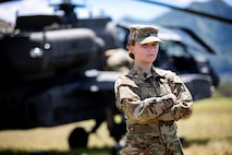 U.S. Army Pfc. Tess Sandoval, an attack helicopter repairer assigned to 2nd Squadron, 6th Calvary Regiment, 25th Combat Aviation Brigade, located on Wheeler Army Airfield, Hawaii, Aug. 25, 2019. Women make up about six percent of all attack helicopter repairers in the U.S. Army. (Photo Credit: U.S. Army 1st Lt. Ryan DeBooy)