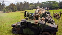 U.S. Marines with Weapons Company, 3rd Battalion, 3rd Marine Regiment fire down range with the 50 cal. machine gun at Schofield Barracks, Hawaii, Feb. 24, 2020. Bougainville I is the beginning exercise that focus on squad level battle drills and tactical training aiming to strengthen the units pre-deployment readiness. (U.S. Marine Corps photo by Cpl. Eric Tso)
