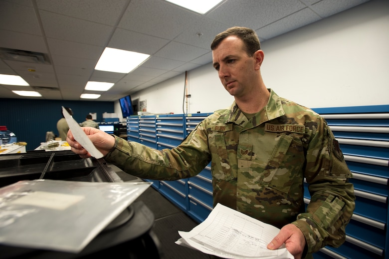 U.S. Air Force Staff Sgt. Brandon Bunn, a 388th Maintenance Group quality assurance inspector, checks prior toolbox inspection dates at Hill Air Force Base, Utah, Feb. 6, 2020. Checking previous inspections verifies that members are adhering to inspection schedules and accounting for their tools on a regular basis. (U.S. Air Force photo by Staff Sgt. Jarrod M. Vickers)