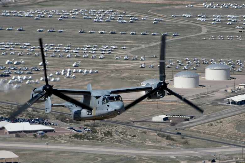 A photo of an MV-22B Osprey flying