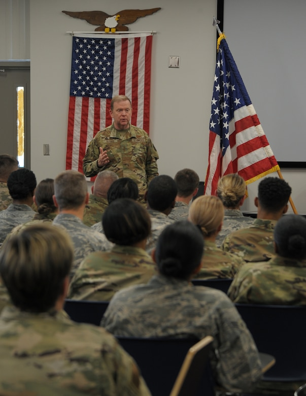The pandemic has hindered General Scobee, shown here meeting with Reserve Citizen Airmen from the 908th Airlift Wing, Maxwell Air Force Base, Alabama, in early March, from doing his favorite part of the job - spending time with Reservists at their units. (Senior Airman Shelby Thurman)