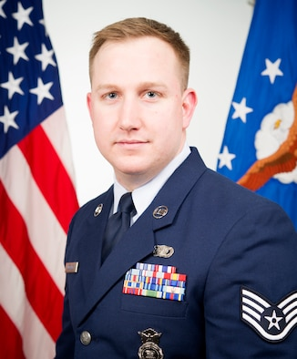 Staff Sgt. Lance Buechler, poses for a photo at Grissom Air Reserve Base, Ind., March 7, 2020. Buechler was named as the 2019 Outstanding Security forces Airman in recognition of his hard work and leadership. (U.S. Air Force photo/Master Sgt. Benjamin Mota)