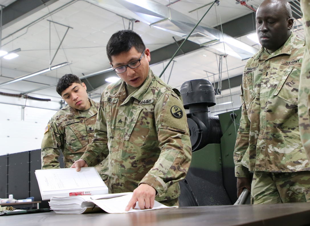 Sgt. Hoang Tran, assigned to the 3rd Brigade, 94th Training Division – Force Sustainment, explains the Joint Light Tactical Vehicle characteristics, features, operations, maintenance aspects to students attending the JLTV Operator New Equipment Training Course at the JLTV Training Center in Fort McCoy, Wis., Feb. 17-21, 2020. The 94th TD-FS leads the JLTV driver's training courses for all Army components.