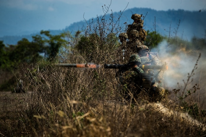 A Royal Thai Marine fires a Shoulder-Launched Multipurpose Assault Weapon during exercise Cobra Gold 2020 at Ban Chan Krem, Chanthaburi, Kingdom of Thailand, March 5, 2020. Exercise Cobra Gold 20, in its 39th iteration, is designed to advance regional security and ensure effective responses to regional crises by bringing together multinational forces to address shared goals and security commitments in the Indo-Pacific region. (U.S. Marine Corps photo by Lance Cpl. Kolby Leger)