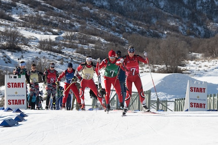 Teams of Soldier-biathlete teams from 21 states compete in the patrol event during the 2020 Chief, National Guard Bureau Biathlon Championship at the Soldier Hollow Nordic Center in Midway, Utah, March 1, 2020.