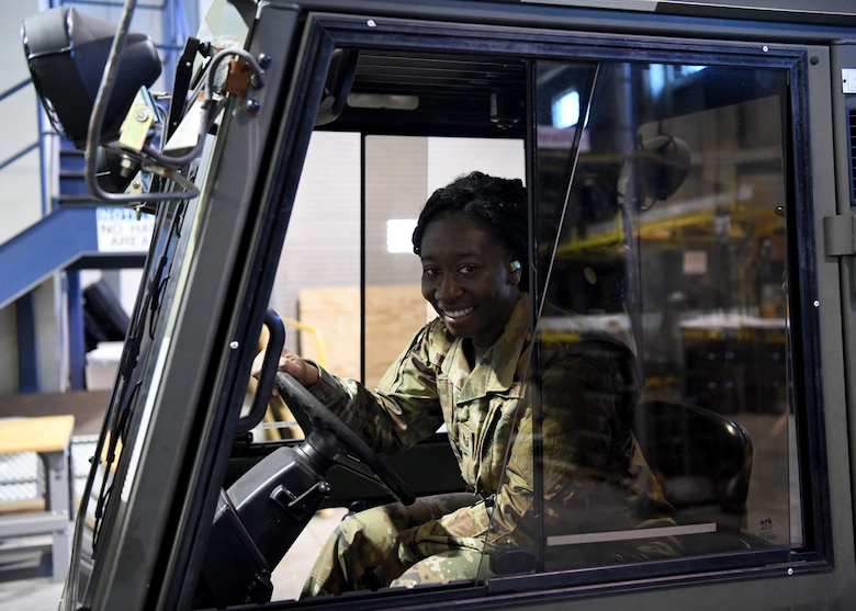 Technical Sgt. Barbara Clark gives insight into the Traffic Management Office at the 104th Fighter Wing. Clark works as a supervisor overseeing inbound and outbound shipments as well as managing airmens training.  (U.S. Air National Guard photo by Airman Camille Lienau)