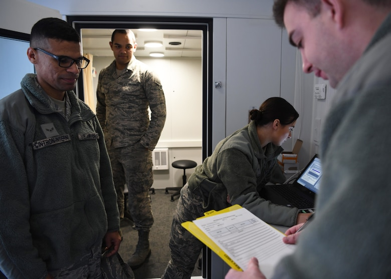 The 104th Fighter Wing's medical group conducts Periodic Health Assessments on March 7, 2020. The PHA is a screening tool used to evaluate the individual medical readiness of Service members.(U.S. Air National Guard photo by Airman Camille Lienau)