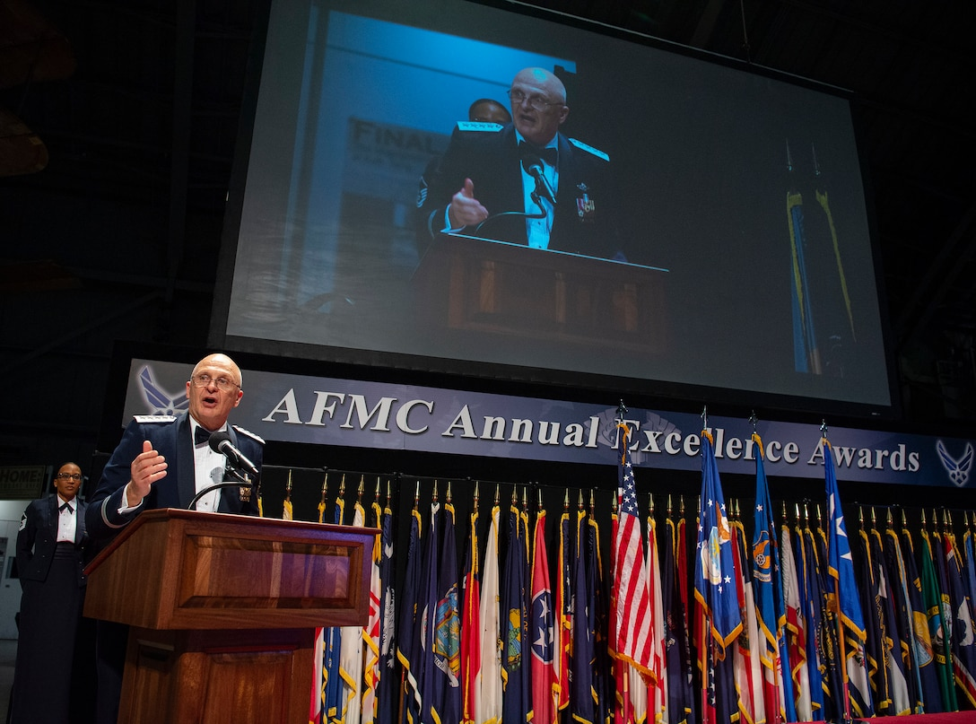 General Arnold W. Bunch, Jr., AFMC commander speaks to nominees and their well-wishers during the command's annual awards banquet, March 11, 2020.