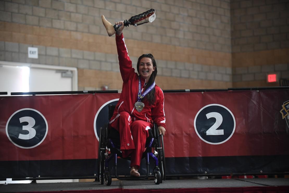 U.S. Marine Corps veteran Annika Hutsler wins the gold medal for the women's freestyle swim during the 2020 Marine Corps Trials at Marine Corps Base Camp Pendleton, Calif., March 10.
