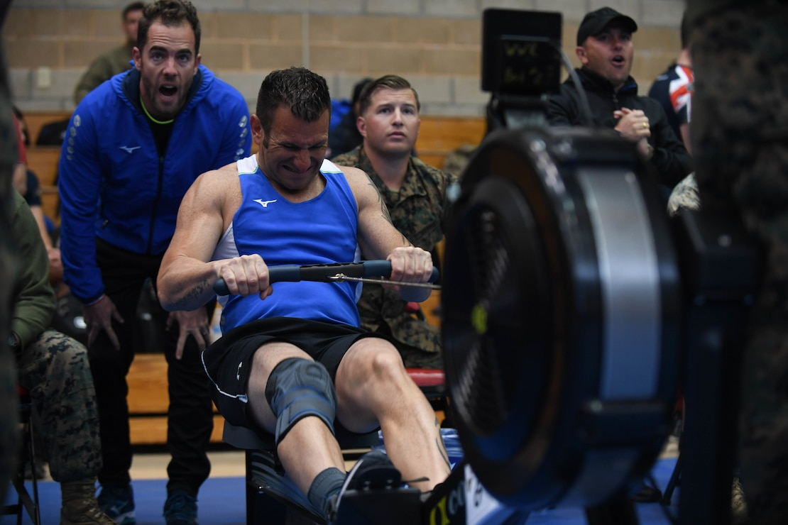 French athlete Staff Sgt. Lionel Danjou competes in the rowing finals of the 2020 Marine Corps Trials at Marine Corps Base Camp Pendleton, Calif., March 9.