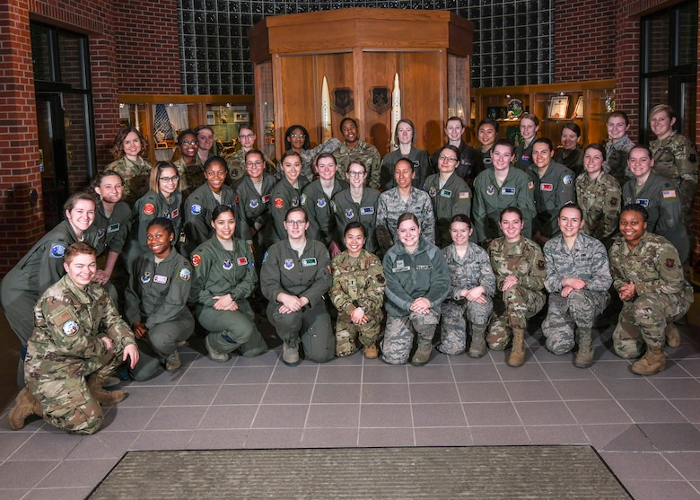 All-Female Alert Airmen from Minot Air Force Base pose for a photo at Minot Air Force Base, North Dakota, March 12, 2020. 91st Missile Wing women from Minot Air Force Base participated in the All-Female Missile Alert Day in support of National Women's History Month.(U.S. Air Force photo by Airman Jan K. Valle)