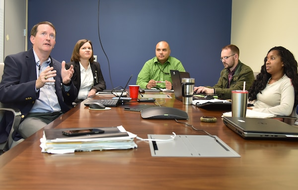 Georgia Power Company representatives Jon Lewis and Heather Cantrell, Georgia Power Company brief Huntsville Center Utility Energy Services Contracting program staff Vick Peltier, Chad Edwards and Brandy Wilkerson during a meeting at Huntsville Center Feb.12. The meeting promoted a cohesive and collaborative project environment for a contract at Warner Robins-Air Logistics Center at Warner Robins Air Force Base, Georgia.