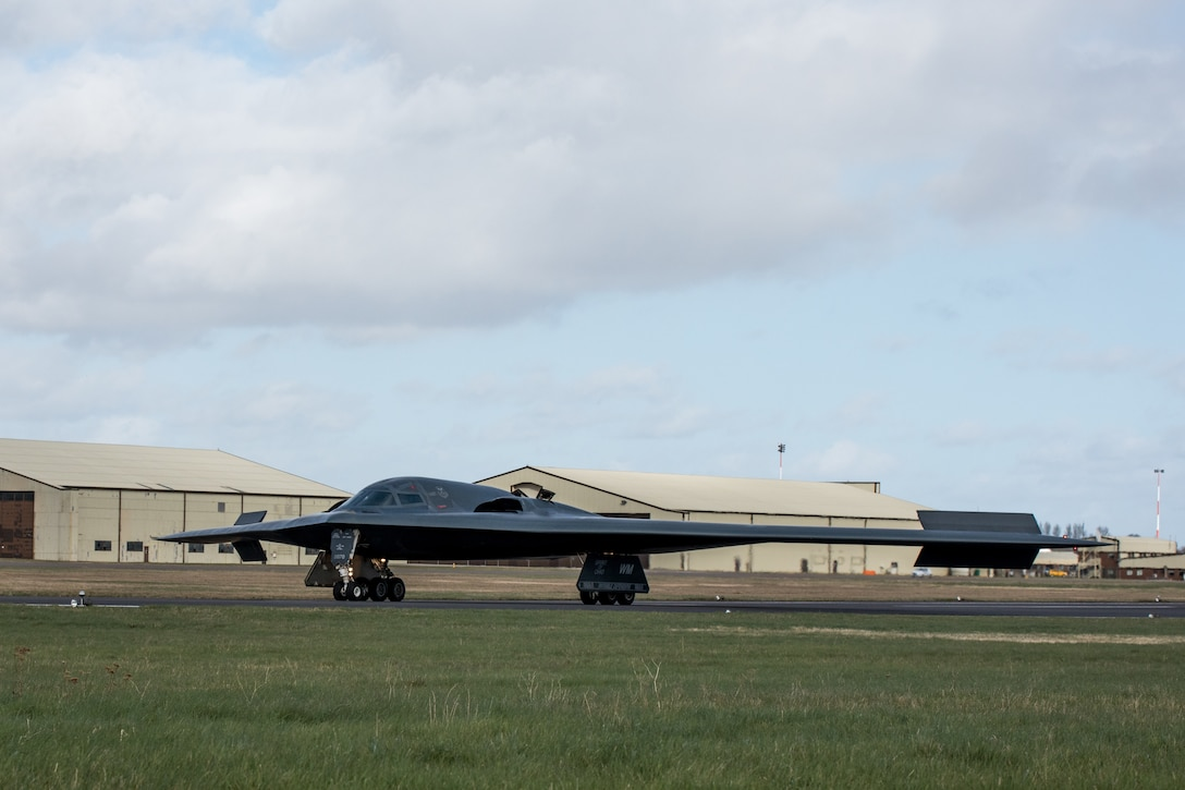 B-2 Spirit aircraft on runway.