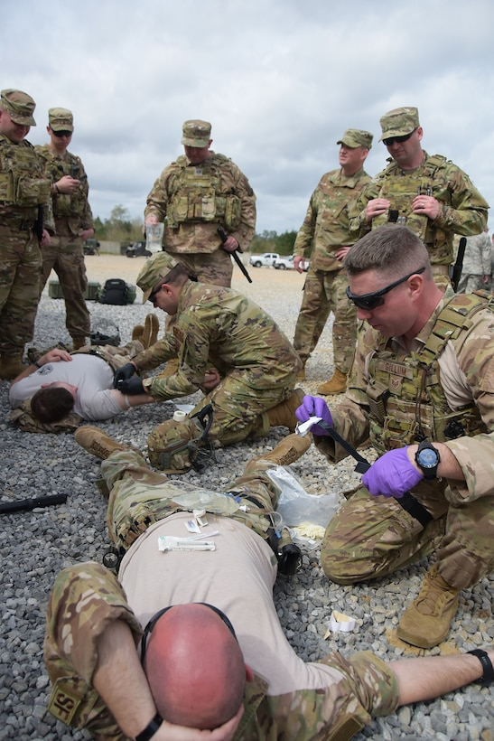 Ohio Air National Guard Airmen participate in medical readiness training during Patriot South, a domestic operations exercise at Camp Shelby, Mississippi, March 2, 2020. The 178th SFS led a security execution with members from the 179th, 180th, and 121st, along with members from the Iowa and New Jersey Air National Guard in a support role to the Mississippi Department of Wildlife, Fisheries and Parks' Special Response Team. (U.S. Air National Guard photo by Capt. Lou Burton)