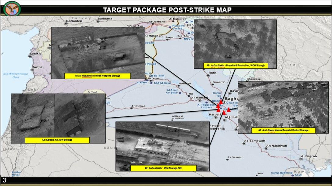 Taji Response, Defensive Strikes on Kata'ib Hizbollah. Target package post-strike map.