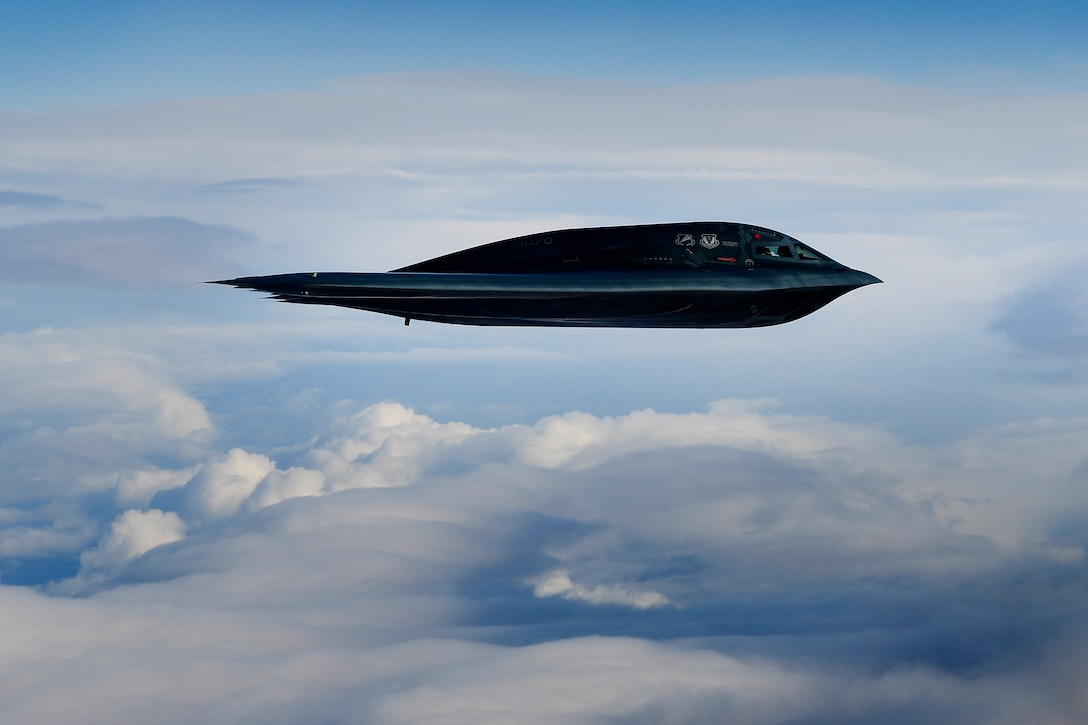 A B-2A Spirit bomber conducts aerial operations