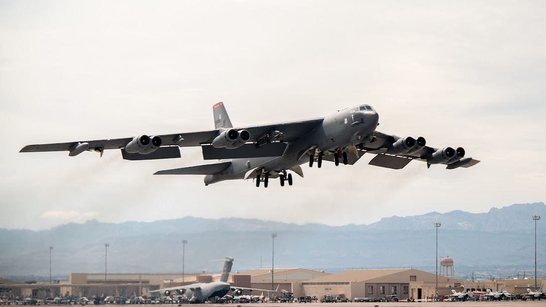 A B-52 Stratofortress takes off