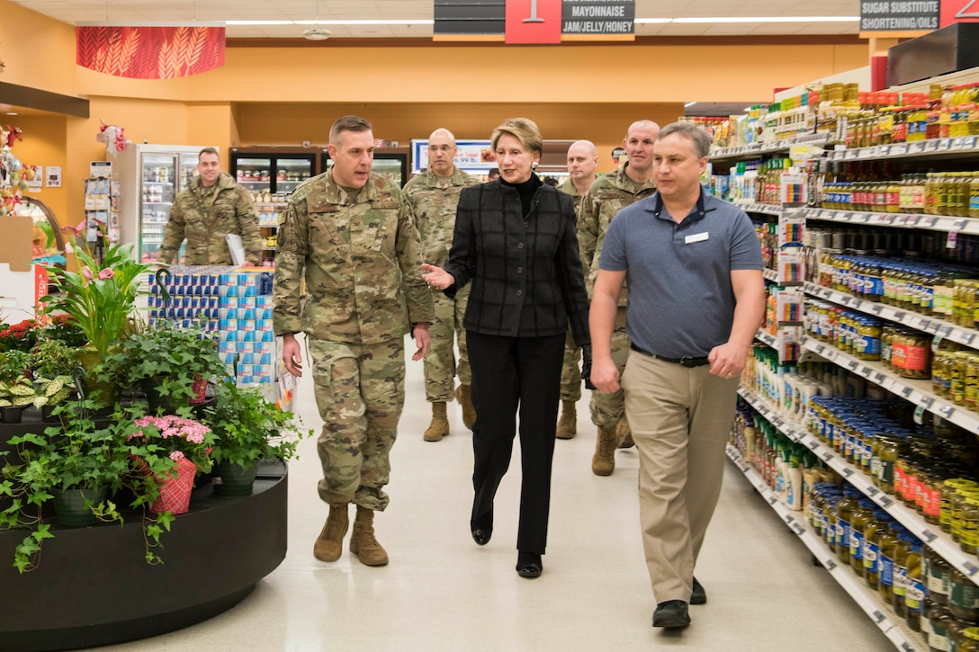 SECAF speaks with base leadership at the commissary at Minot Air Force Base