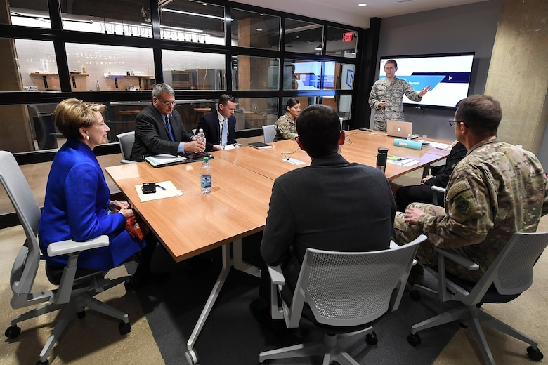 Secretary of the Air Force Barbara Barrett is briefed by the Air Force Ventures Team, Crystal City, Va., March 12, 2020. (U.S. Air Force photo by Andy Morataya)