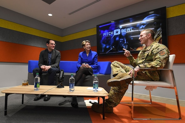 Dr. Will Roper, left, assistant secretary of the Air Force for acquisition, technology and logistics, has a fireside chat for Pitch Bowl with Air Force Secretary Barbara Barrett in Arlington, Va., March 12, 2020. (U.S. Air Force photo by Andy Morataya)