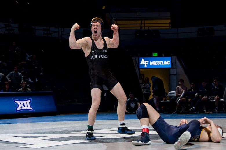 U.S. Air Force Academy wrestler celebrates winning