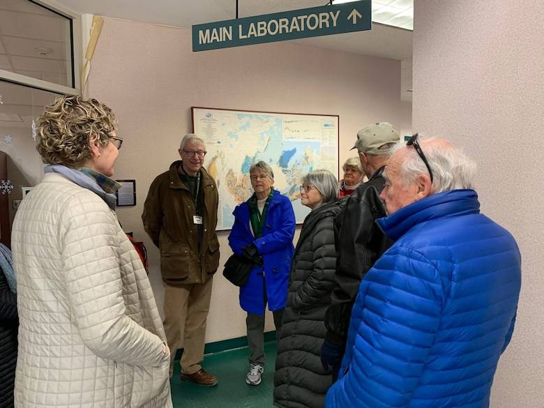 """Students from the The Osher Lifelong Learning Institute and the U.S. Army Engineer Research and Development Center's Cold Regions Research and Engineering Laboratory, tour CRREL's main laboratory on the last day of the course, """"Hot Times in the Cold Regions Lab,"""" February 24, 2020. The lab visit allowed the students to see the inner workings of the facility, the types of research and the different engineering capabilities that allow CRREL to stand at the forefront of cold regions research and engineering."""