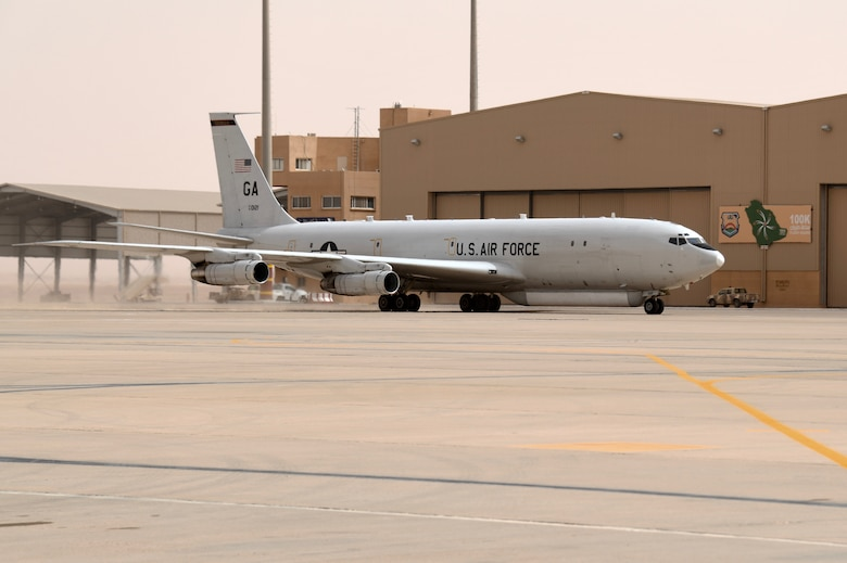 The JSTARs forward deployed to PSAB from Al Udeid Air Base, Qatar as part of an agile combat employment mission meant to test the squadron's ability to conduct missions in the region from an austere location.