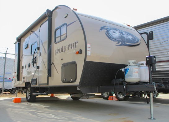 A Wolf Pup trailer sits in the Outdoor Recreation RV lot lot near Bldg. 805 at Schriever Air Force Base, Colorado, March 12, 2020. The 50t Force Support Squadron hosts camper safety courses every Wednesday at Bldg. 805 8-9 a.m. (U.S. Air Force photo by Marcus Hill)