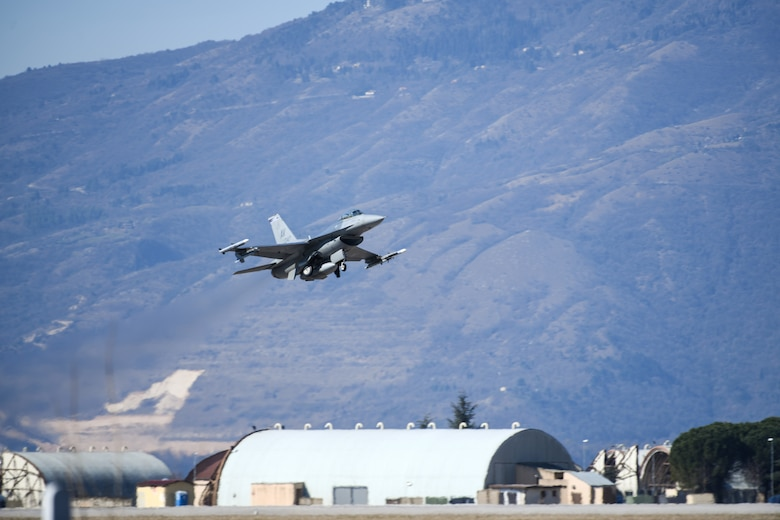 A U.S. Air Force F-16 Fighting Falcon from the 510th Fighter Squadron takes off at Aviano Air Base, Italy, March 16, 2020. The 510th FS provides combat airpower on demand to U.S. and NATO combatant commanders as well as the National Command Authority in order to meet National Security objectives.(U.S. Air Force photo by Airman 1st Class Ericka A. Woolever)