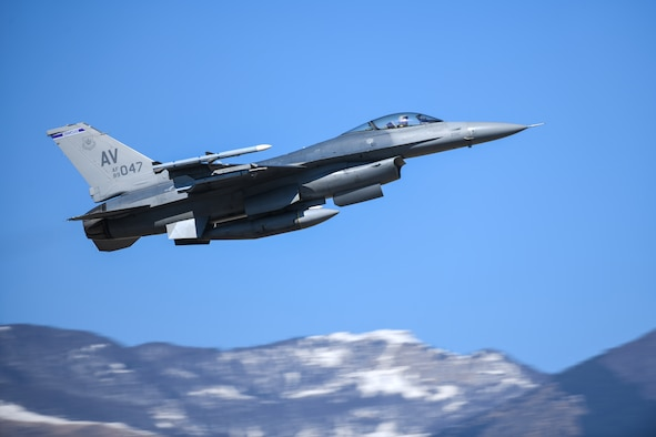A U.S. Air Force F-16 Fighting Falcon from the 510th Fighter Squadron soars above Aviano Air Base, Italy, March 16, 2020. The 31st Fighter Wing is dedicated to remaining lethal and rapidly ready while operating within the confines of the decrees set by the Italian government. (U.S. Air Force photo by Airman 1st Class Ericka A. Woolever)