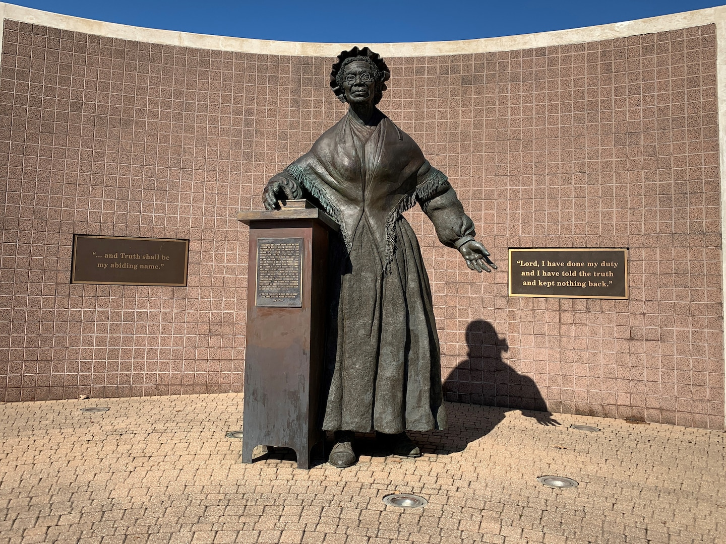 A large bronze statue in downtown Battle Creek, Michigan, reminds visitors of Sojourner Truth's impact on rights for all.