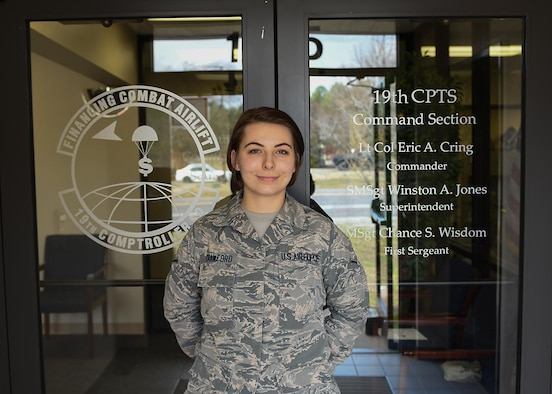 U.S. Air Force Airman Jessica Crawford, 19th Comptroller Squadron budget analyst, is recognized as the Combat Airlifter of the Week at Little Rock Air Force Base.