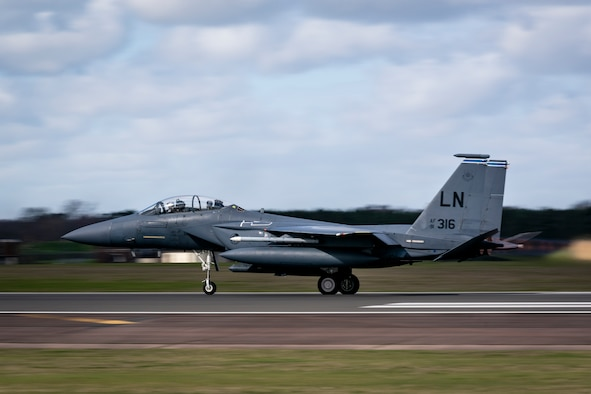 An F-15E Strike Eagle assigned to the 492nd Fighter Squadron takes off from Royal Air Force Lakenheath, England, in support of exercise Valiant Liberty, March 12, 2020. The training was designed to increase the Liberty Wing's capability to rapidly support joint operations, enabling U.S. and allied forces to deter, defend and win across the spectrum of conflict. (U.S. Air Force photo by Staff Sgt. Rachel Maxwell)