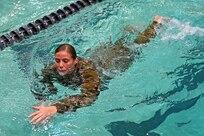 The German Armed Forces Proficiency Badge 100-meter swim test.