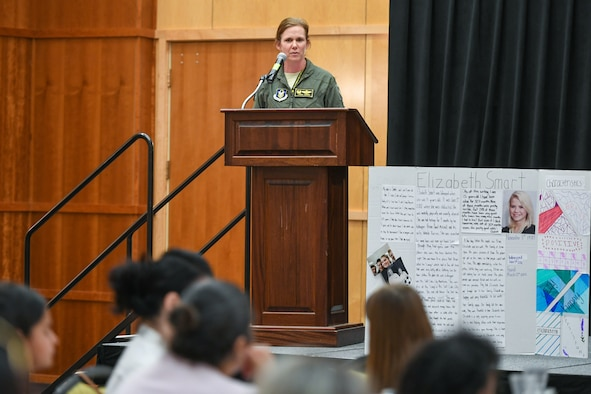 Col. Regina Sabric, 419th Fighter Wing commander, speaks at the Women's History Lunch held at Hill Air Force Base