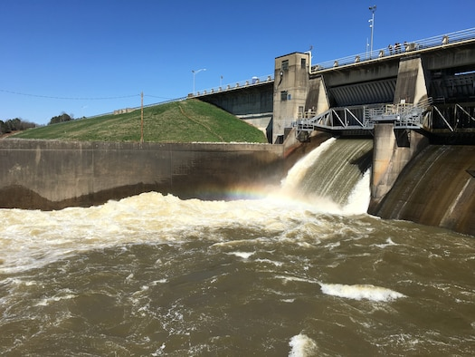 Water rushes from the AEDC Woods Reservoir Dam at Arnold Air Force Base. (U.S. Air Force photo)