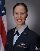 Official photo of SrA Kathryn Yuill, percussionist with the USAF Band of Mid-America