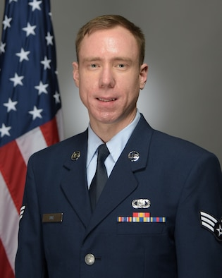 Official Photo of SrA Michael Dee, saxophonist with the USAF Band of Mid-America