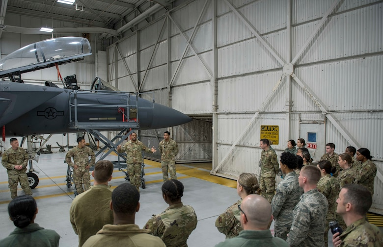 Airmen from the 4th Maintenance Group teach Airmen from the 4th Operations Medical Readiness Squadron, about the F-15E Strike Eagle and the maintenance career field, March 11, 2020, at Seymour Johnson Air Force Base, N.C.