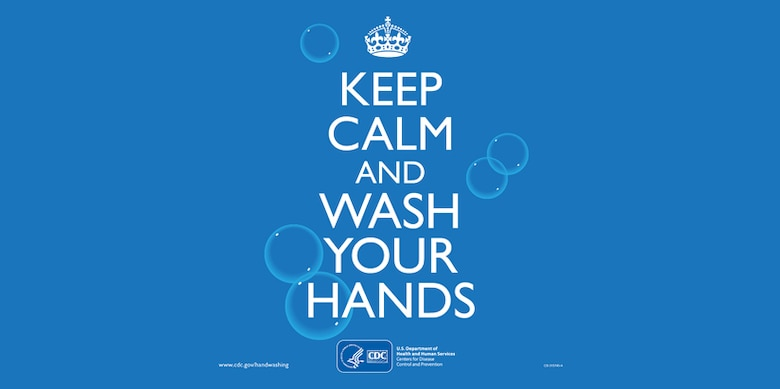 CDC Keep Calm and Wash Your Hands graphic.