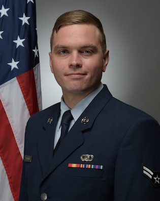 Official Photo of A1C Michael Horrigan, bassist with the United States Air Force Band of Mid-America