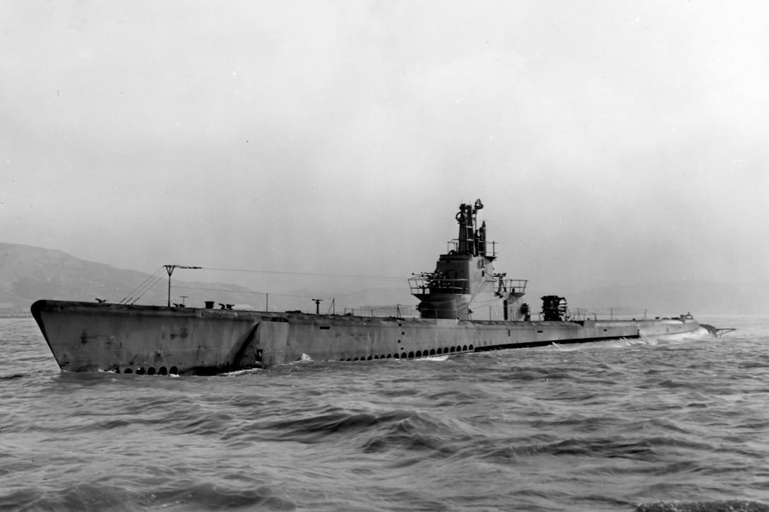 Submarine floats on surface.