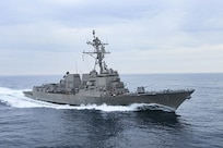 The  Arleigh Burke-class guided-missile destroyer Pre-Commissioning Unit (PCU) Delbert Black (DDG 119) conducts the second builder's trials in the Gulf of Mexico