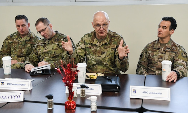 Gen. Arnold W. Bunch, Jr., commander, Air Force Materiel Command (AFMC), fields questions during a breakfast with Arnold Engineering Development Complex (AEDC) team members, Feb. 7, 2020, at Arnold Air Force Base, Tenn. Also pictured are Chief Master Sgt. Robert Heckman, from left, superintendent of AEDC; Chief Master Sgt. Stanley Cadell, command chief, Air Force Materiel Command; and Col. Jeffrey Geraghty, commander of AEDC. (U.S. Air Force photo by Jill Pickett)