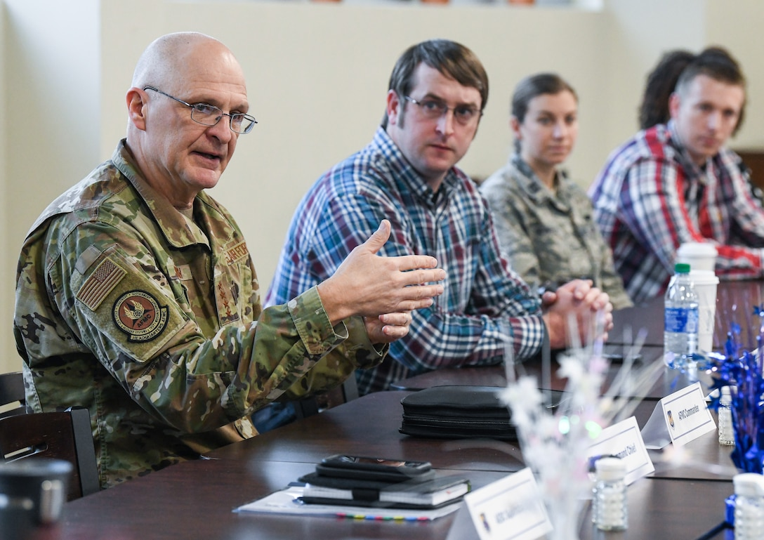 Gen. Arnold W. Bunch, Jr., commander, Air Force Materiel Command, fields questions during a breakfast with Arnold Engineering Development Complex team members, Feb. 7, 2020, at Arnold Air Force Base, Tenn. (U.S. Air Force photo by Jill Pickett)