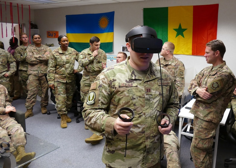 U.S. Air Force Capt. Reilly Nuckel, 818th Mobility Support Advisory Squadron flight commander, tests the new virtual reality French language program at the Language Learning Center at Joint Base McGuire-Dix-Lakehurst, New Jersey, Sept. 13, 2019. The LLC helps 818th MSAS Airmen maintain a French language proficiency as part of their mission to help train, advise and assist military partners in Africa. (Courtesy photo)