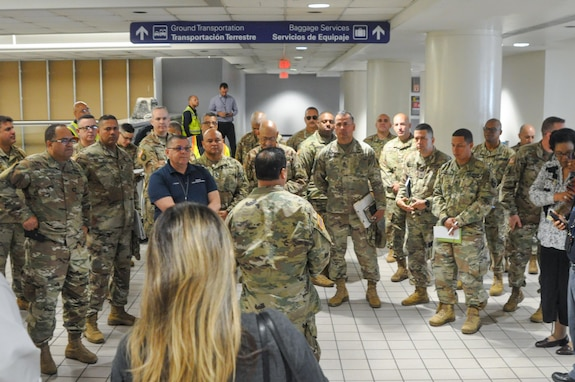 The Puerto Rico National Guard is supporting the Puerto Rico Department of Health by screening passengers at the Luis Muñoz Marín International Airport to detect suspected cases of coronavirus. Citizen-Soldiers received medical evaluations and guidance from Dr. Kendra Caraballo, an epidemiologist, and general instructions from Staff Sgt. Marimar Rivera.