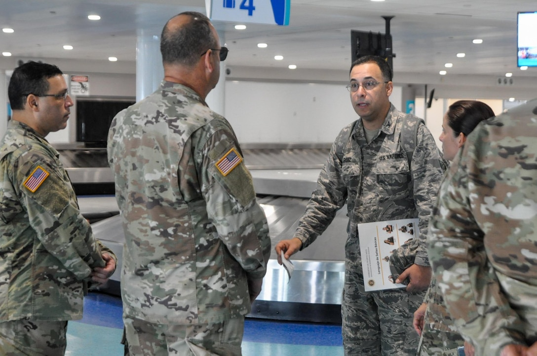 The Puerto Rico National Guard will support the Puerto Rico Department of Health by screening passengers at the Luis Muñoz Marín International Airport, Puerto Rico, to detect suspected cases of coronavirus. (Photo by Alexis Velez)