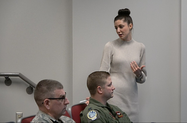 Clare Long, 132d Wing Airmen and Family Readiness Program Manager and accredited financial counselor (AFC), talks to Airmen during financial briefings on February 8, 2020, at the 132d Wing, Des Moines, Iowa. Financial literacy is a key factor in ensuring Airmen maintain their security clearances. (Iowa Air National Guard Senior Airman Katelyn Sprott)